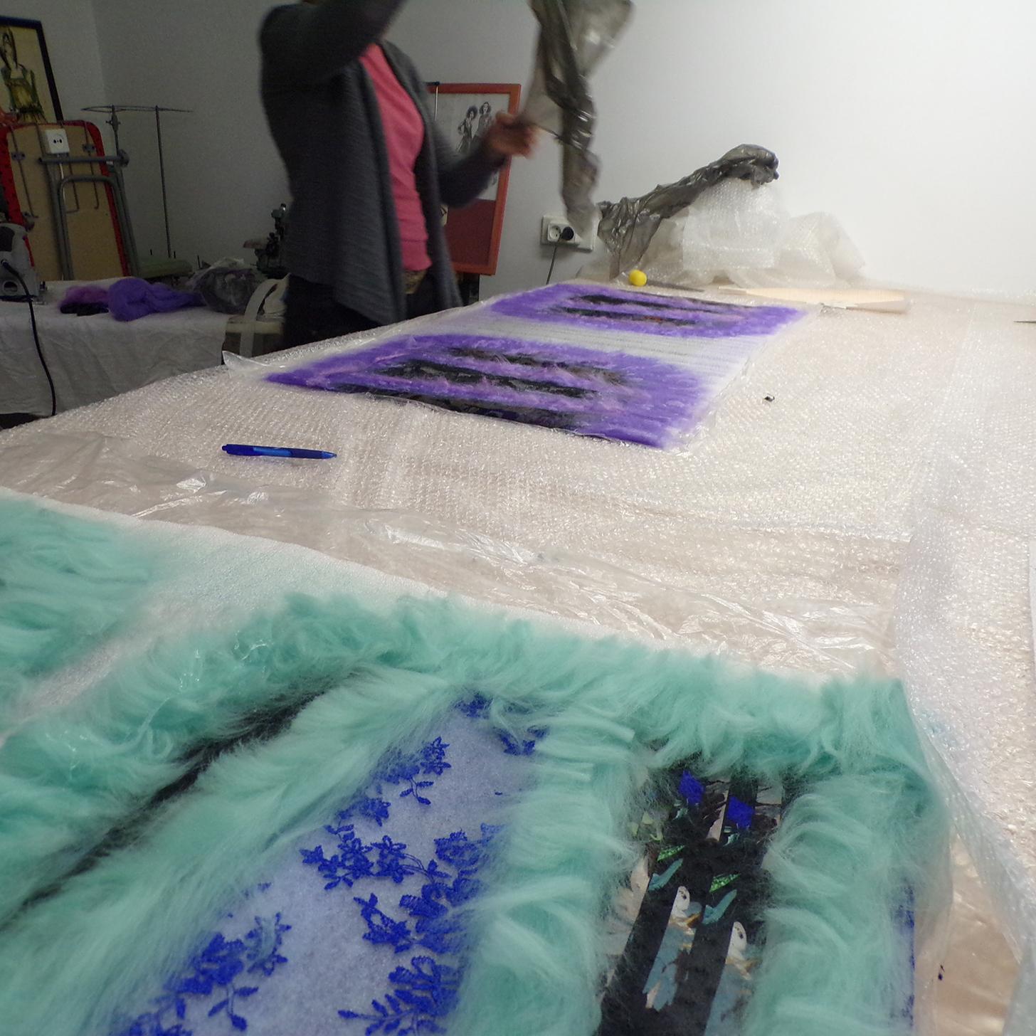 Валяние шерсти раскладка шерсти